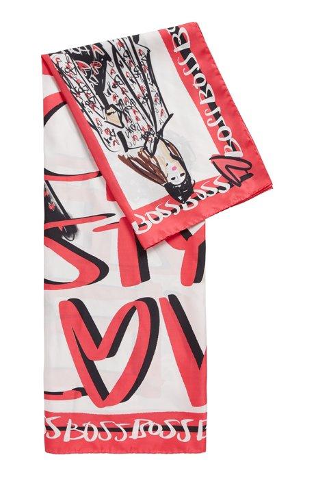 Quadratisches Tuch aus reiner Seide mit Artwork der Kollektion, Gemustert