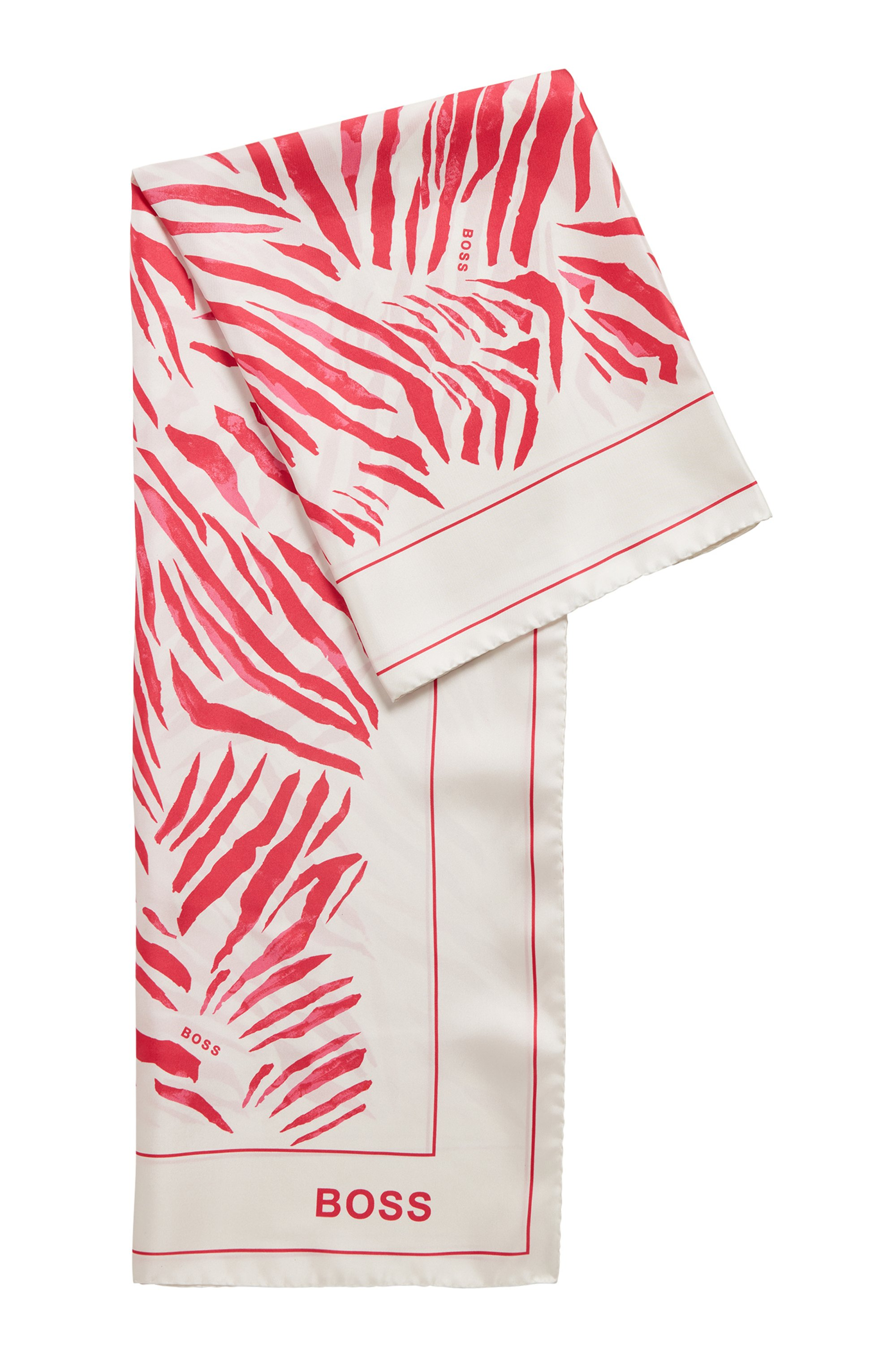 Square scarf in pure silk with collection artwork, White Patterned