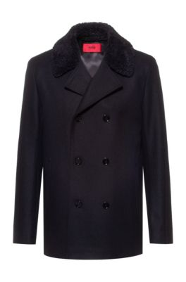 Virgin-wool-blend jacket with detachable faux-shearling collar, Black