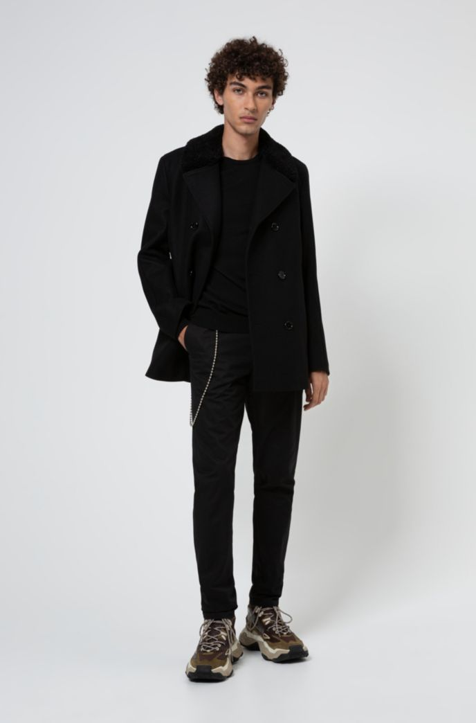 Virgin-wool-blend jacket with detachable faux-shearling collar