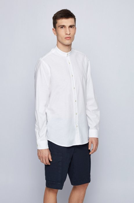Regular-fit shirt in peached cotton with stand collar, White