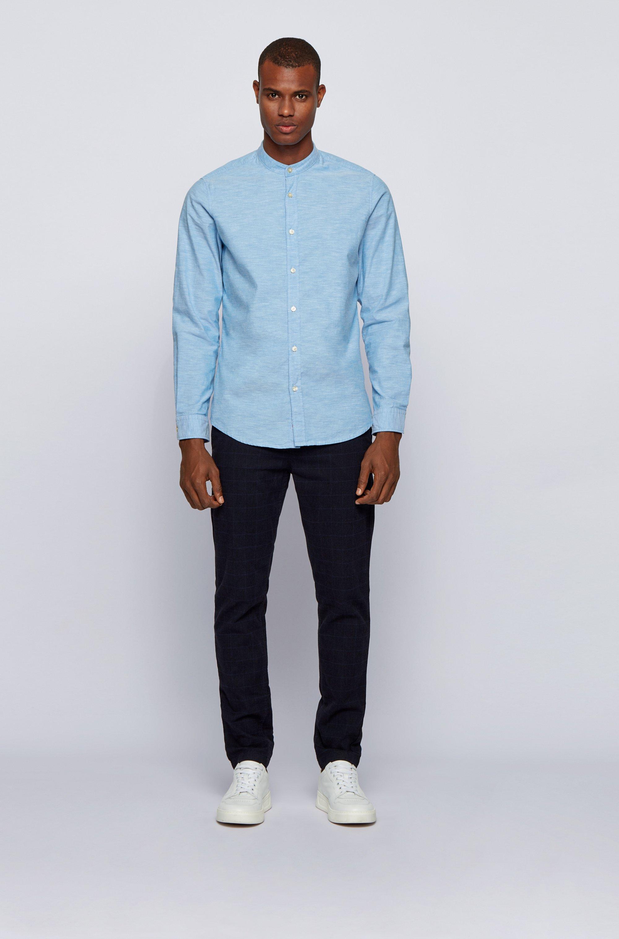 Camicia regular fit in cotone manopesca con colletto rialzato