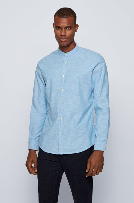 Regular-fit shirt in peached cotton with stand collar, Light Blue