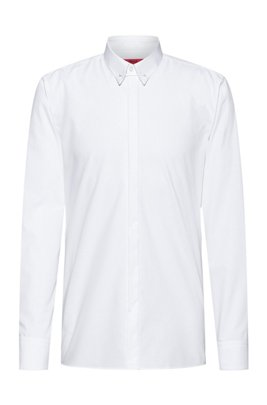 Easy-iron cotton slim-fit shirt with collar pin, White