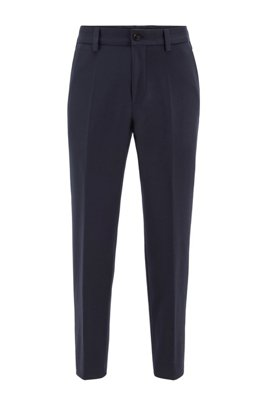 Cropped relaxed-fit trousers in stretch cotton, Dark Blue