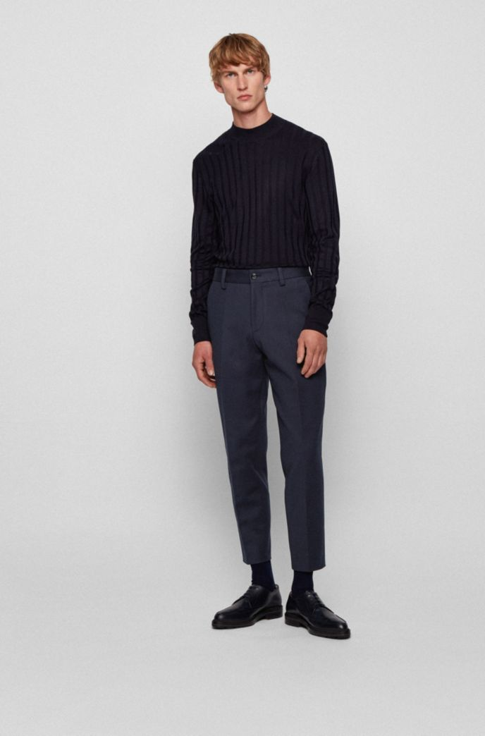 Cropped relaxed-fit trousers in stretch cotton