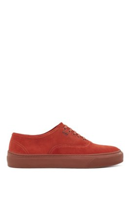 Italian-made trainers in suede with hardware logo, Red
