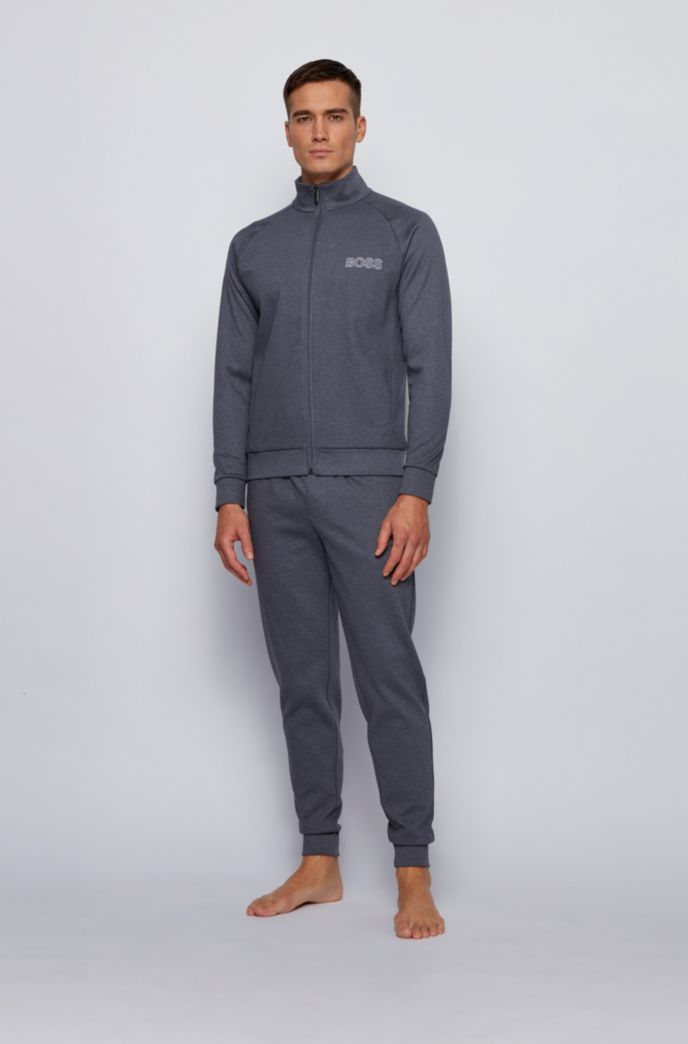 Zip-through loungewear sweatshirt in cotton with ottoman detailing