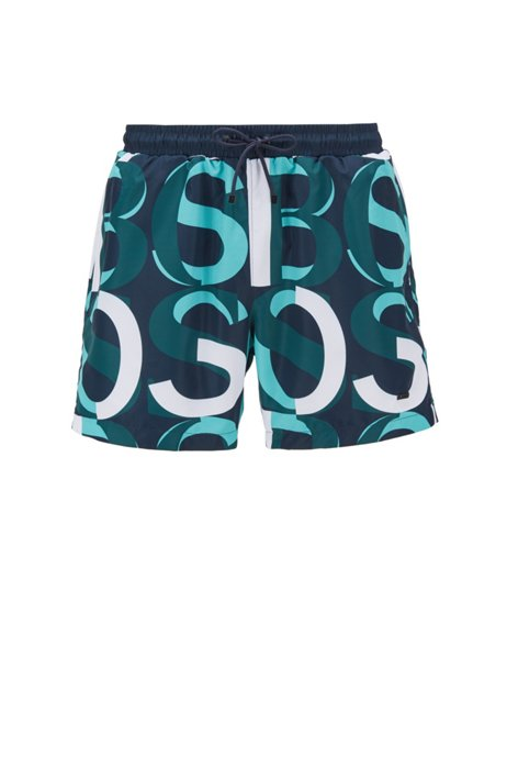 Logo-print swim shorts in quick-dry recycled fabric, Turquoise