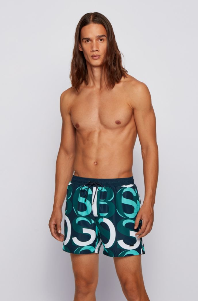 Logo-print swim shorts in quick-dry recycled fabric