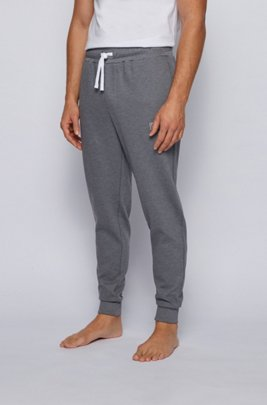 Loungewear trousers in ottoman cotton with logo embroidery, Grey