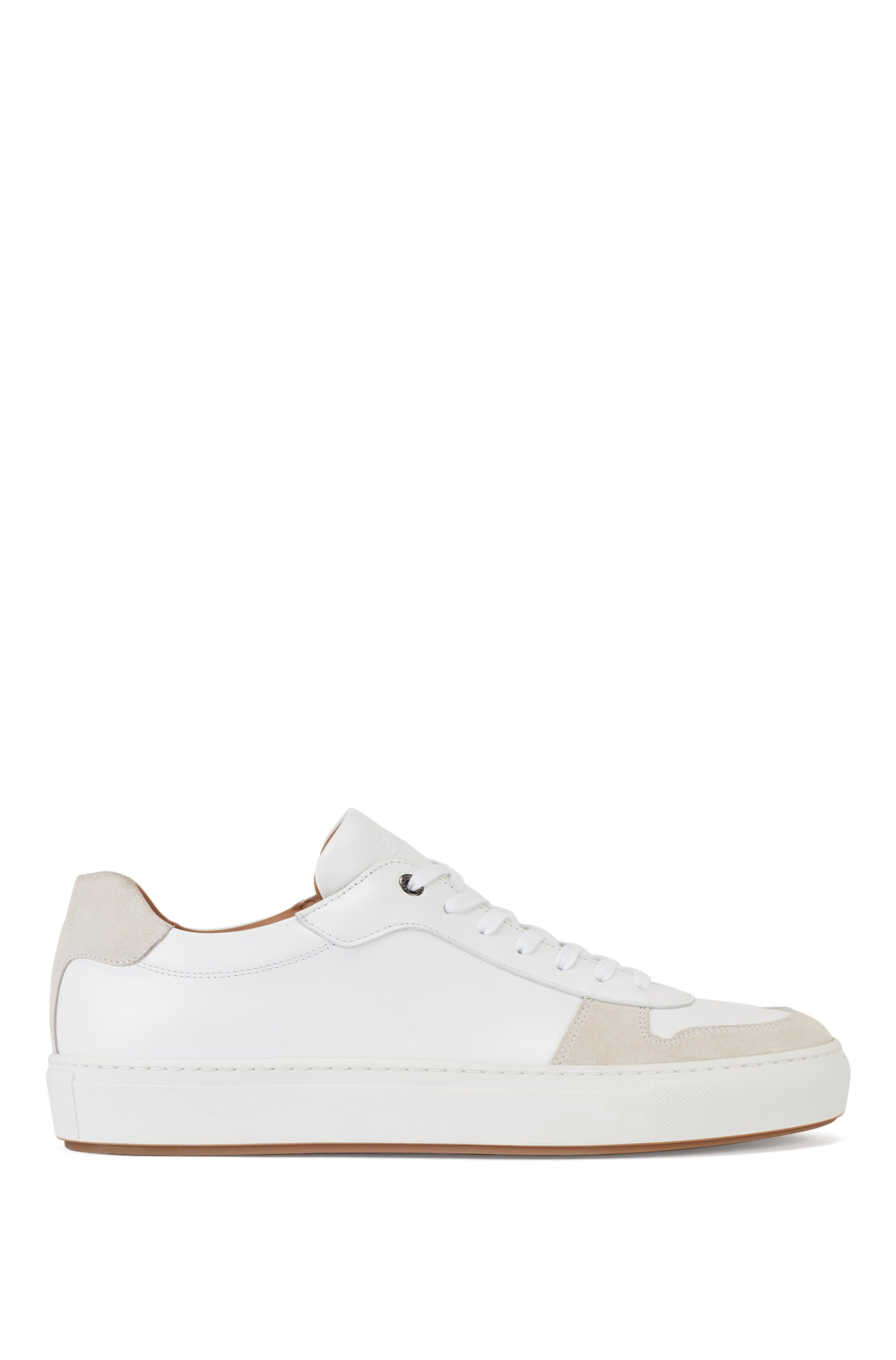 Cupsole trainers in nappa leather and suede, White