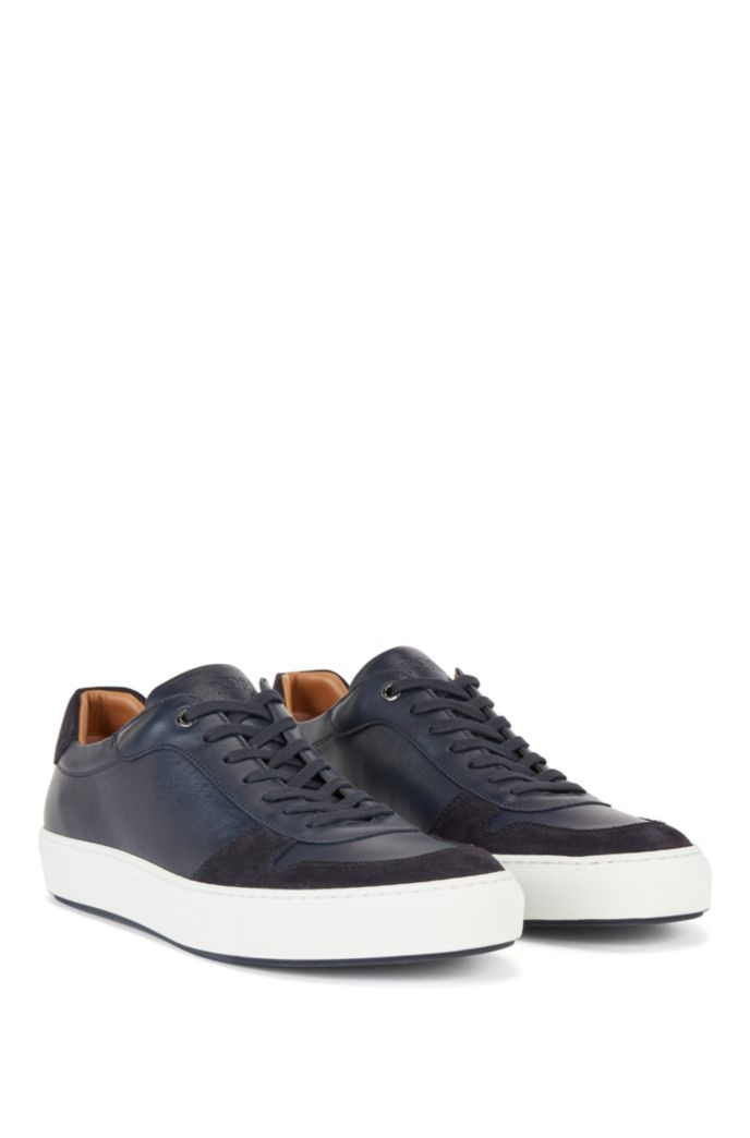 Cupsole trainers in nappa leather and suede