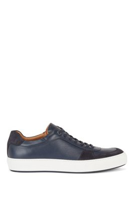 Cupsole trainers in nappa leather and suede, Dark Blue