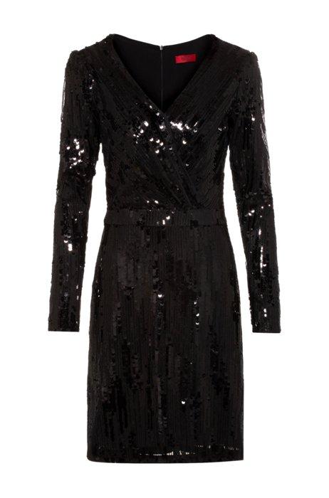 Vestido de lentejuelas con manga larga y parte delantera con efecto cruzado, Negro