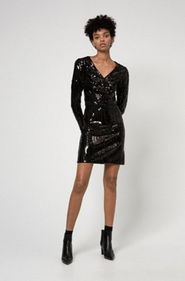 Long-sleeve sequin dress with wrap-effect front, Black