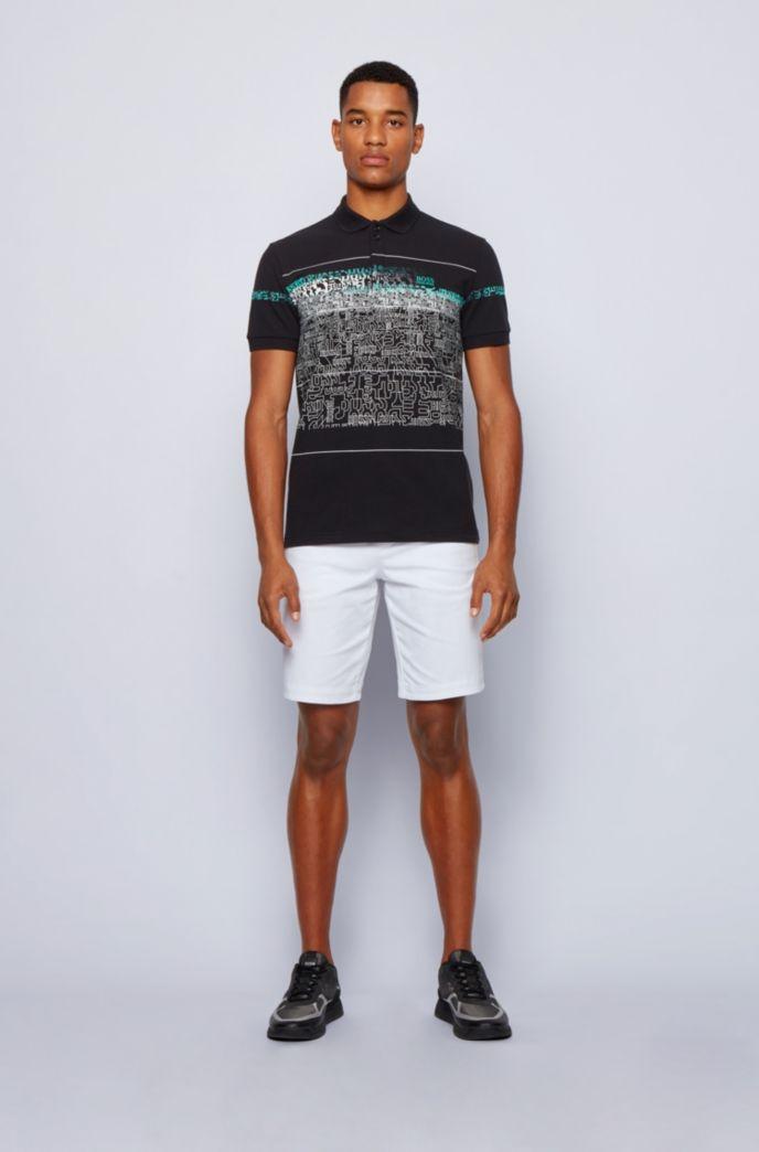 Logo-print polo shirt in stretch-cotton piqué