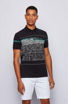 Logo-print polo shirt in stretch-cotton piqué, Black