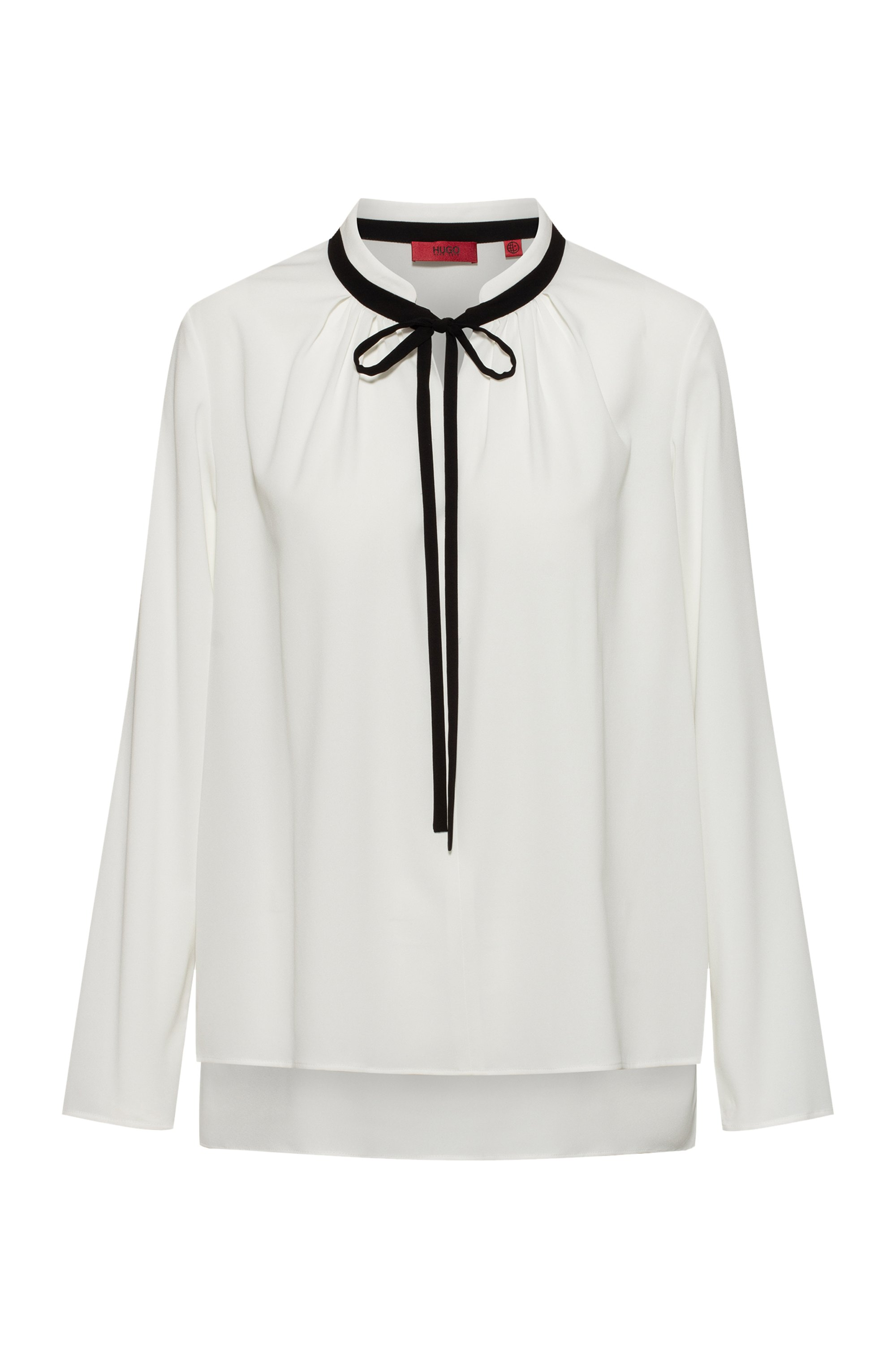 Long-sleeved top with contrast tie-up detail, White