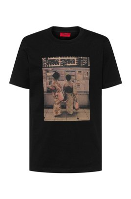 Regular-fit T-shirt in cotton with collection print, Black