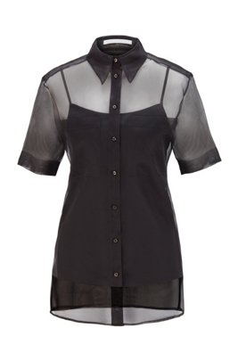 Short-sleeved blouse in transparent silk, Black
