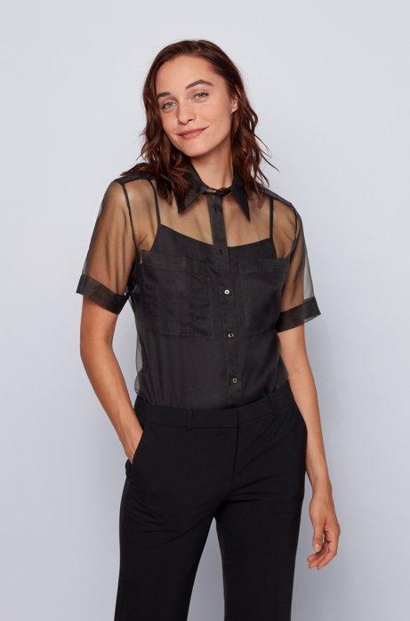 Short-sleeved blouse in transparent silk, Black