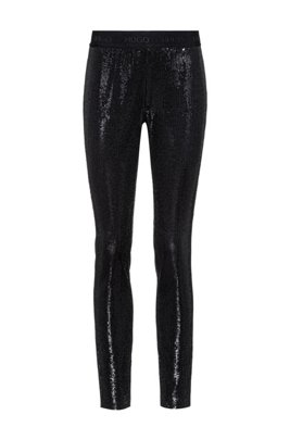 Sequin leggings with logo waistband, Black