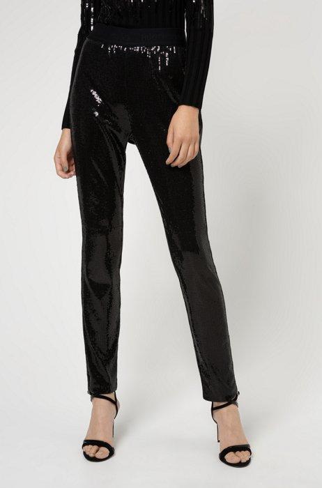 Sequin leggings with logo waistband, Black