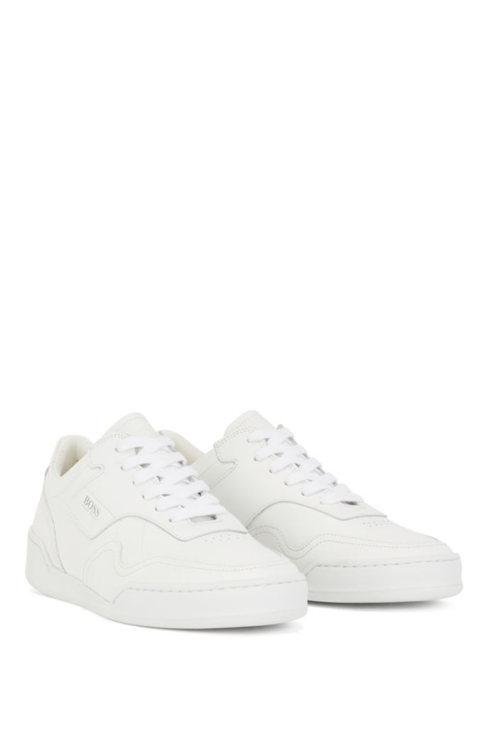 Low-top trainers in tumbled Italian leather