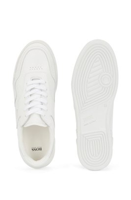 Low-top trainers in tumbled Italian leather, White