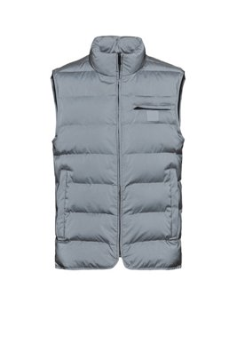 Reflective slim-fit gilet with tonal logo patch, Light Grey