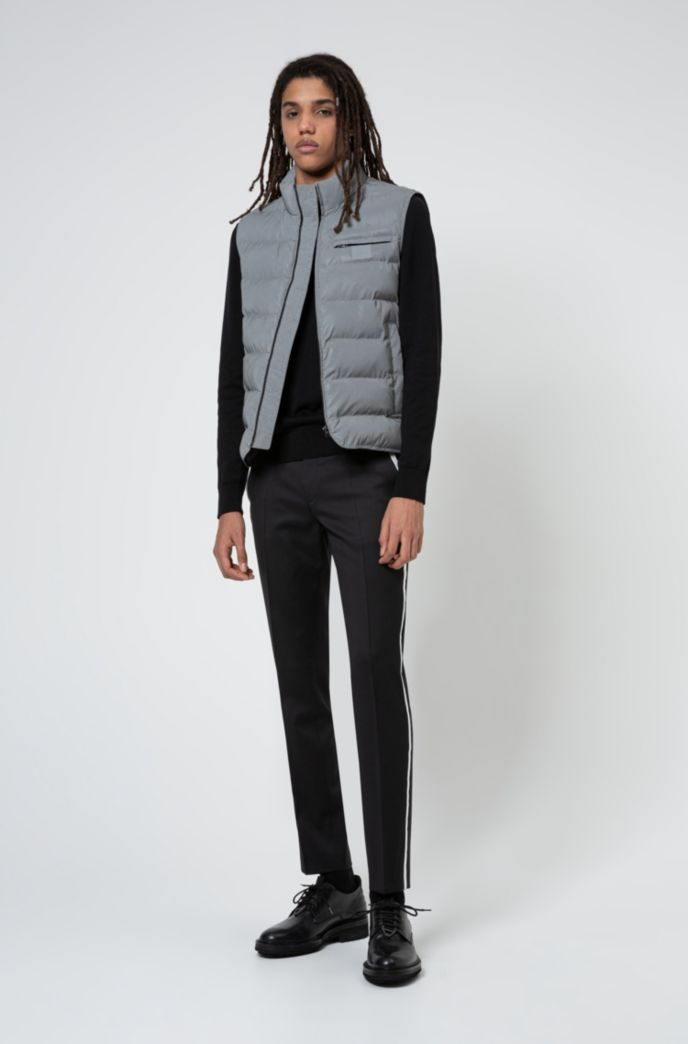 Reflective slim-fit gilet with tonal logo patch
