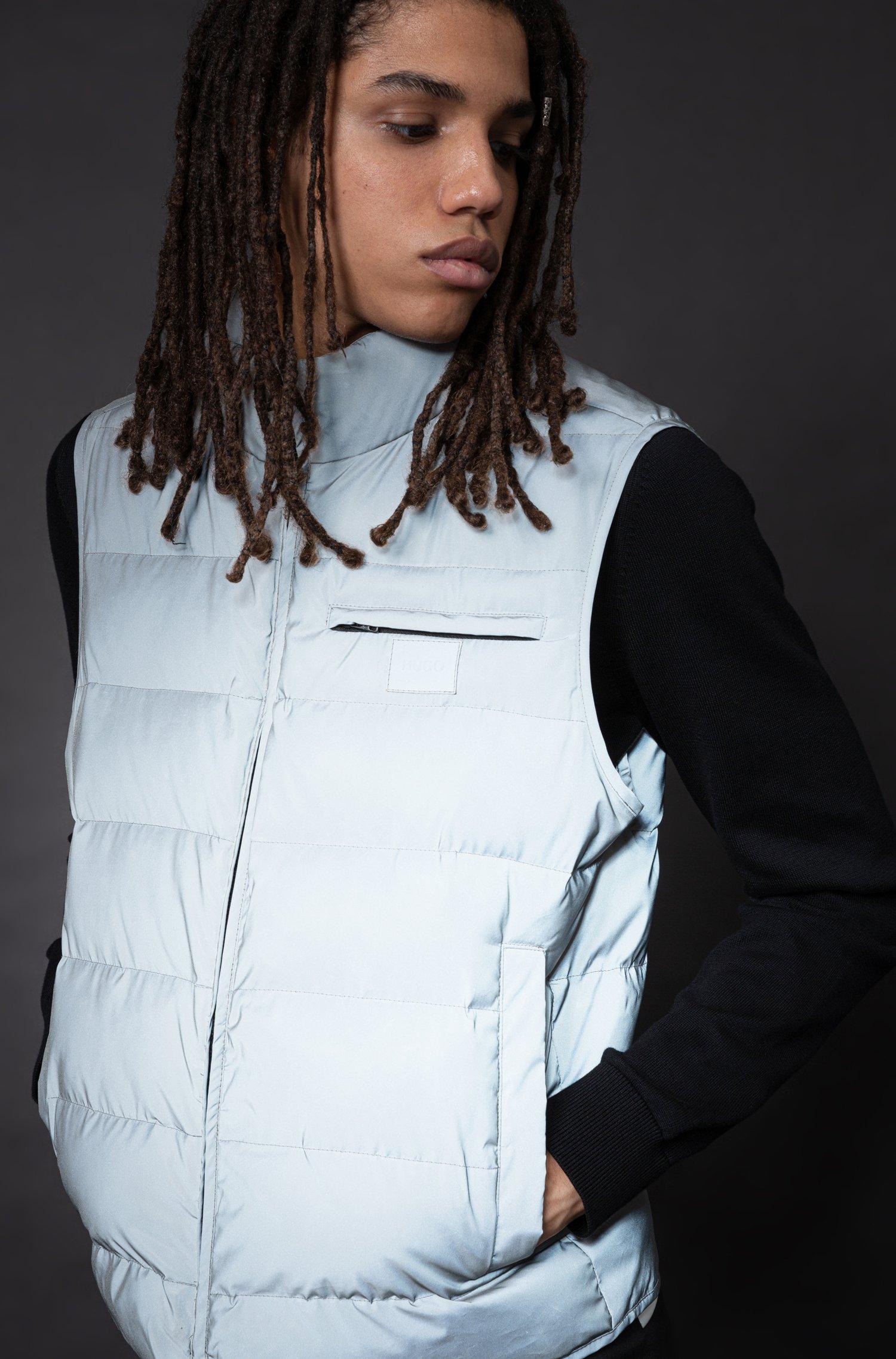Reflective slim-fit gilet with tonal logo patch, Light Grey