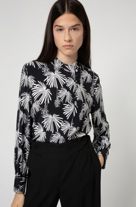 Relaxed-fit blouse in crepe georgette with new-season print, Black Patterned