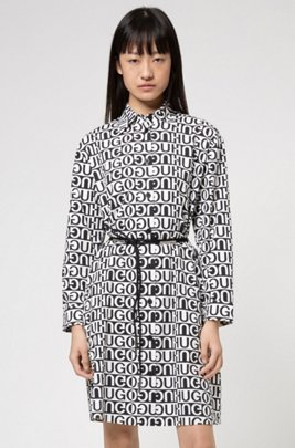 Logo-motif relaxed-fit shirt dress with belt detail, Patterned