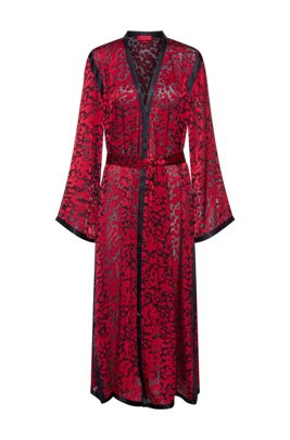 Kimono-inspired chiffon dress with burnout cherry-tree print, Patterned