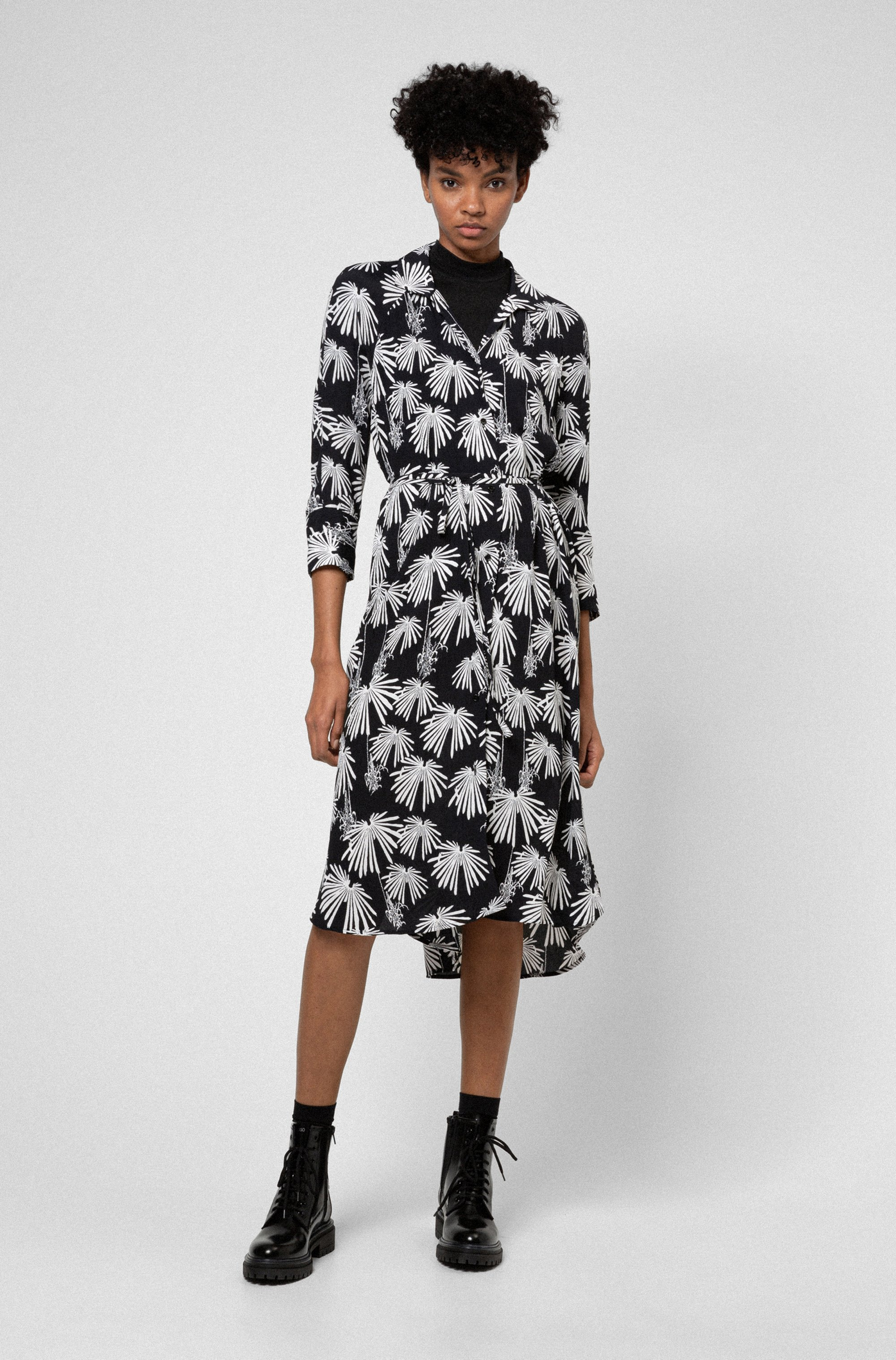 Crepe-georgette midi dress with collection-themed print