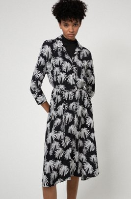 Crepe-georgette midi dress with collection-themed print, Patterned