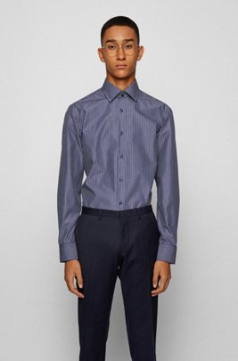 Slim-fit shirt in butcher-stripe easy-iron cotton, Dark Blue