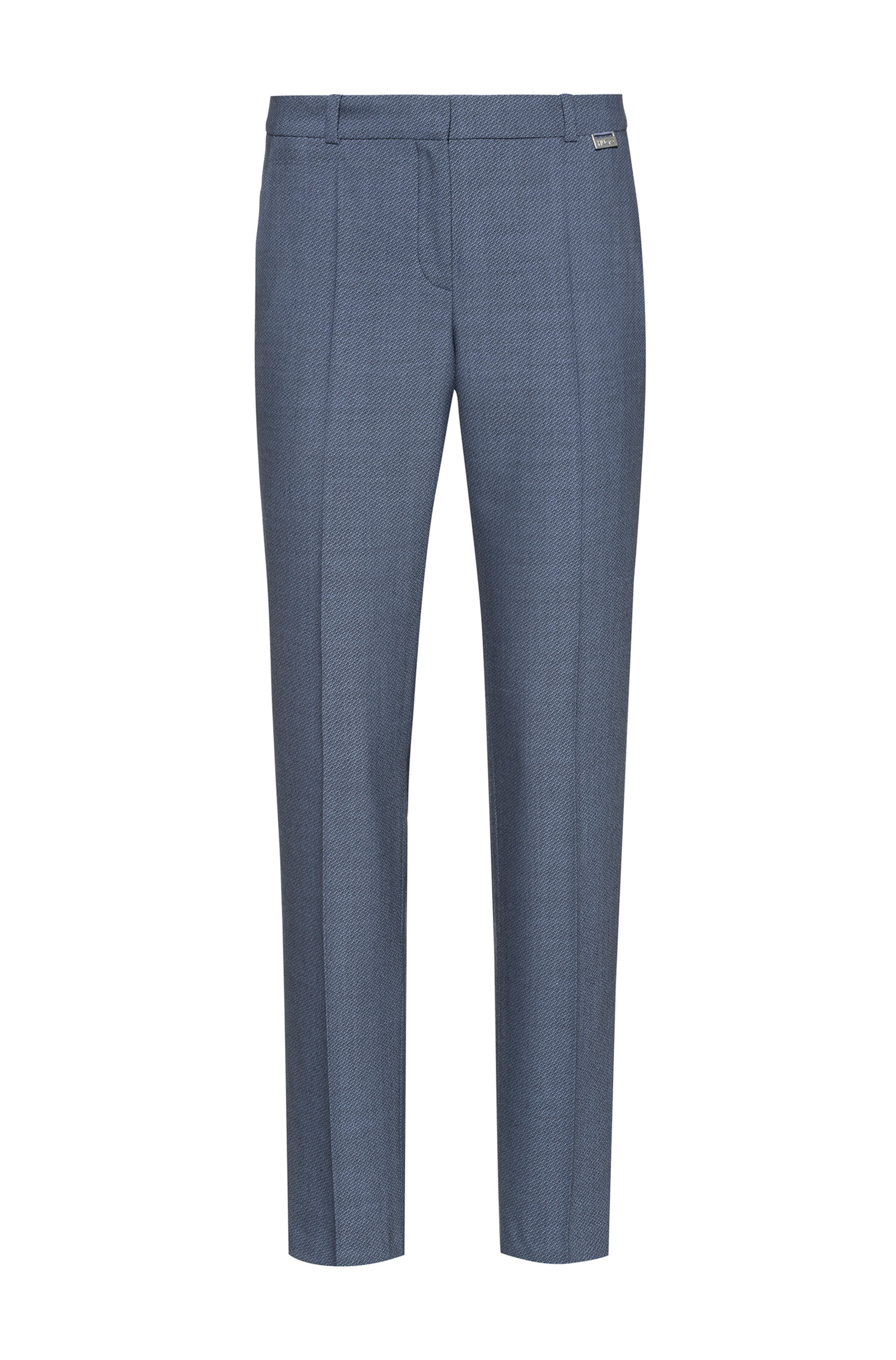 Regular-fit trousers in a micro-patterned wool blend, Blue