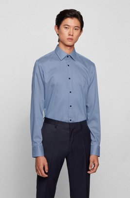 Slim-fit printed-cotton shirt with wrinkle-free finishing, Blue Patterned