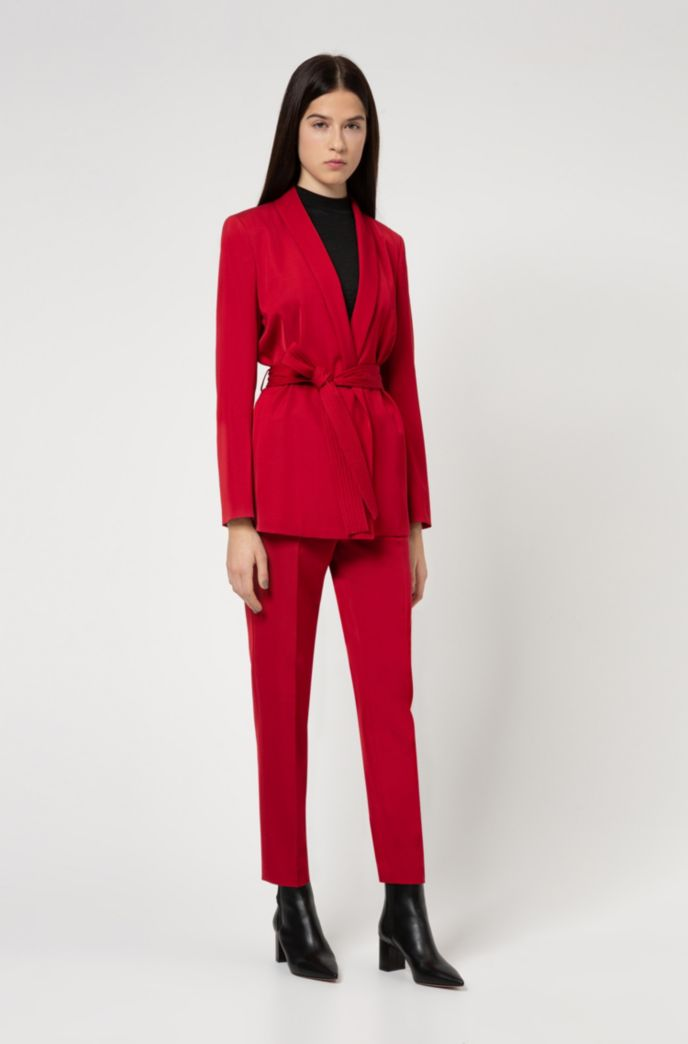 Cropped regular-fit trousers with stitched waistband