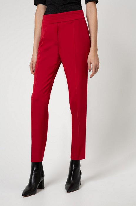 Cropped regular-fit trousers with stitched waistband, Red