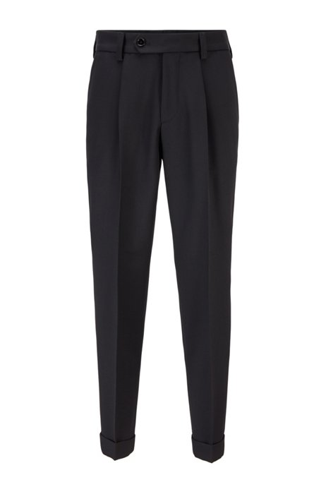 Oversized-fit trousers in micro-structured fabric, Black