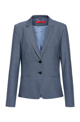 Cropped regular-fit jacket in a micro-patterned wool blend, Blue