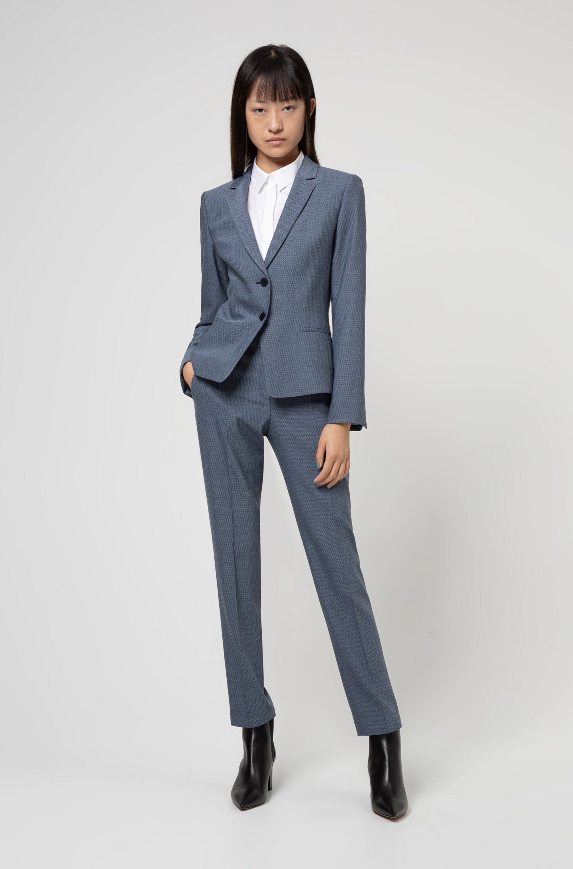 Cropped regular-fit jacket in a micro-patterned wool blend