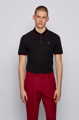Polo shirt in organic cotton with recycled fibres, Black