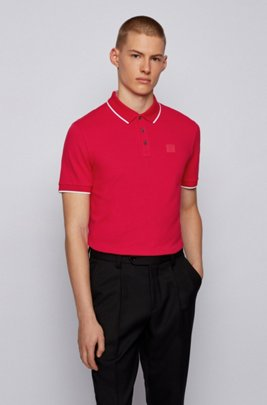 Polo shirt in organic cotton with recycled fibres, Red