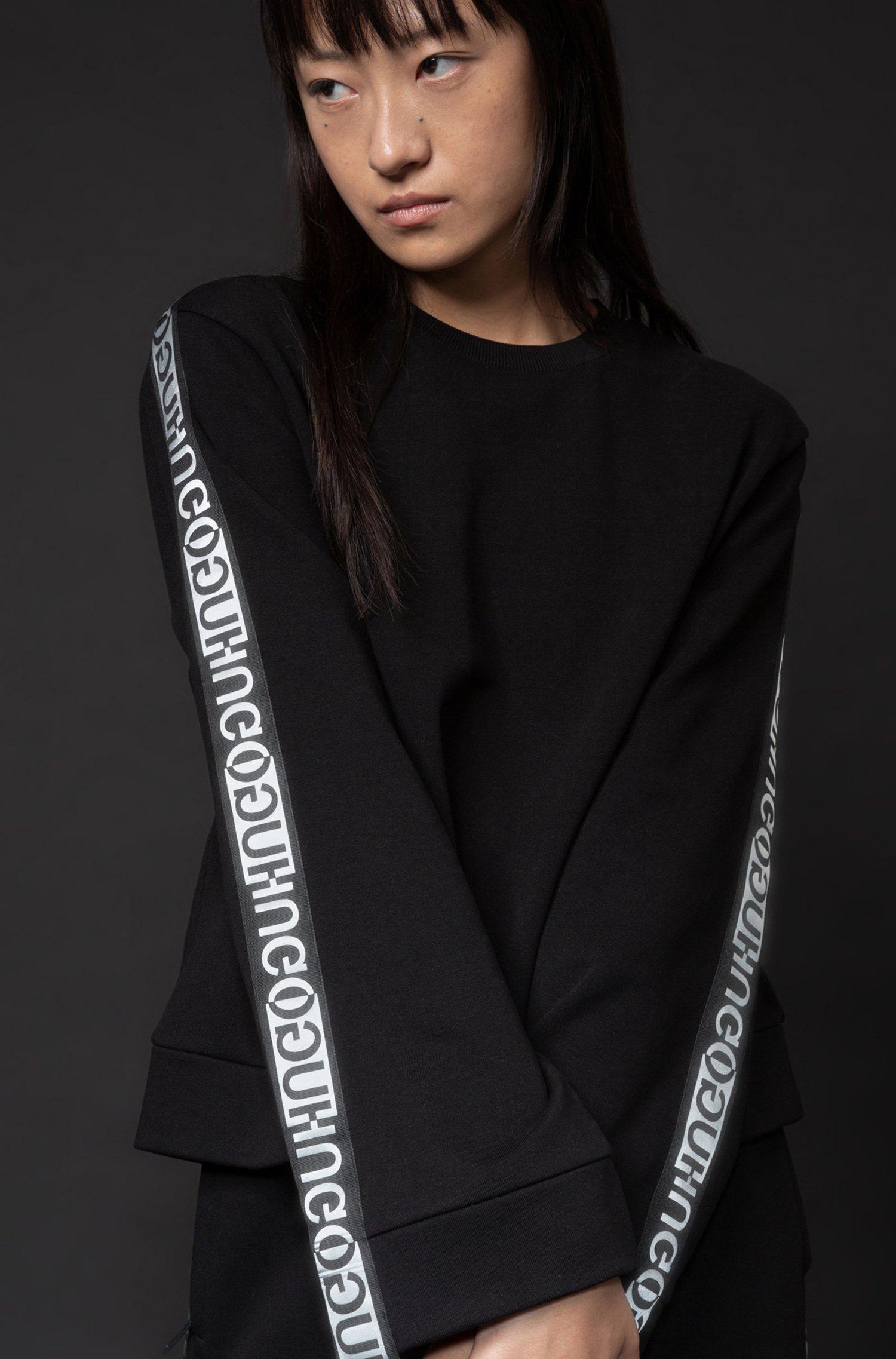 Logo-tape sweatshirt in organic-cotton terry, Black