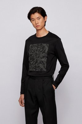 Long-sleeved slim-fit T-shirt with ox-head artwork, Black